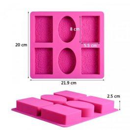 """Καλούπι Σιλικόνης 21,9X20X2,5 cm """"4 Παραλληλόγραμμα & 2 Οβάλ"""""""