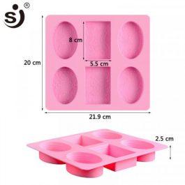 """Καλούπι Σιλικόνης 21,9X20X2,5cm""""4 Οβάλ&2 Παραλληλόγραμμα"""""""