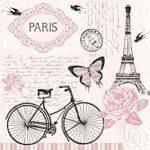"""Χαρτοπετσέτες . """"Παρίσι-ποδήλατο"""" 33×33εκ"""