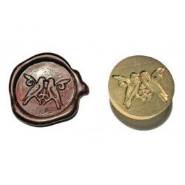 """Ορειχάλκινη Σφραγίδα Φ 2,5cm """"Σπουργιτάκια"""" για Βουλοκέρι"""