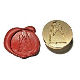 """Ορειχάλκινη Σφραγίδα Φ 2,5cm """"Bride & Groom"""" για Βουλοκέρι"""