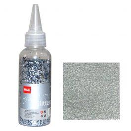 "Glitter σκόνη 1/64"" σε μπουκάλι ασημί 40γρ."