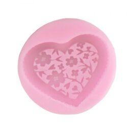 Καλούπι Σιλικόνης – Καρδιά με Λουλούδια – 56x8mm