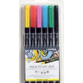 Μαρκαδόρος Lyra Aqua Brush Duo Primary Set 6τμχ