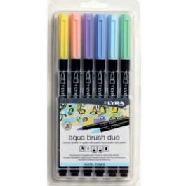 Μαρκαδόρος Lyra Aqua Brush Duo Pastel Set 6τμχ